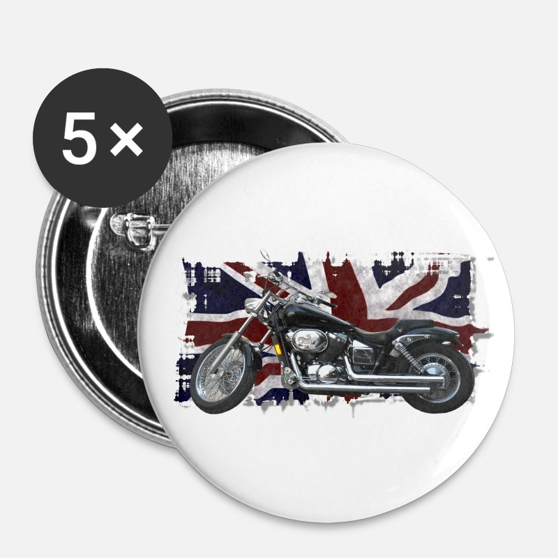 Motorbike Buttons - UNION JACK FLAG & MOTORBIKE - Large Buttons white