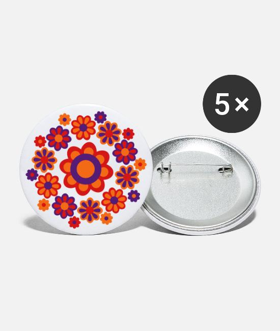 Design Buttons & Pins - Floral Mandala by Cheerful Madness!! - Large Buttons white