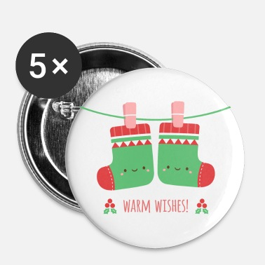 Warm Wishes Xmas Socks - Buttons large 2.2'' (5-pack)