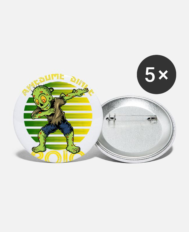 Cute Buttons & Pins - Halloween 9th Birthday Boy Dabbing Zombie Awesome - Large Buttons white
