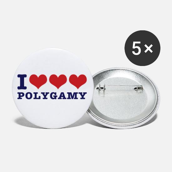 Fun Buttons - I love polygamy - Large Buttons white