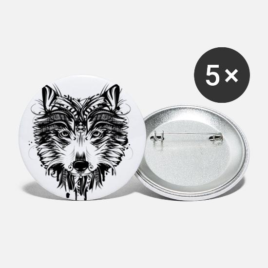 Alpha Animal Buttons - Wolf head - Large Buttons white