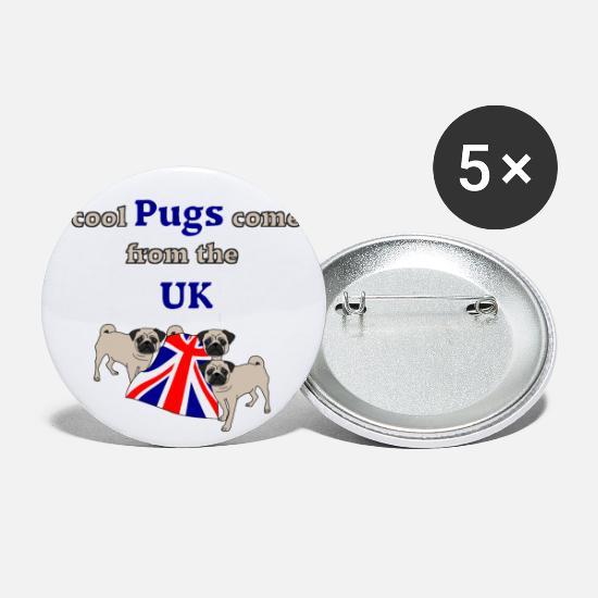 Union Jack Buttons - Pugs - Large Buttons white