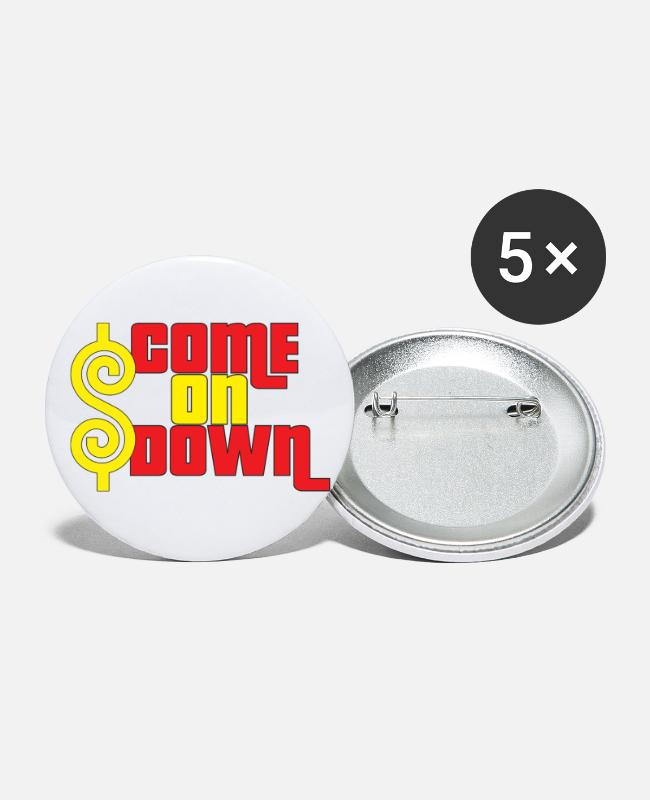 TV Buttons & Pins - Come On Down - Large Buttons white