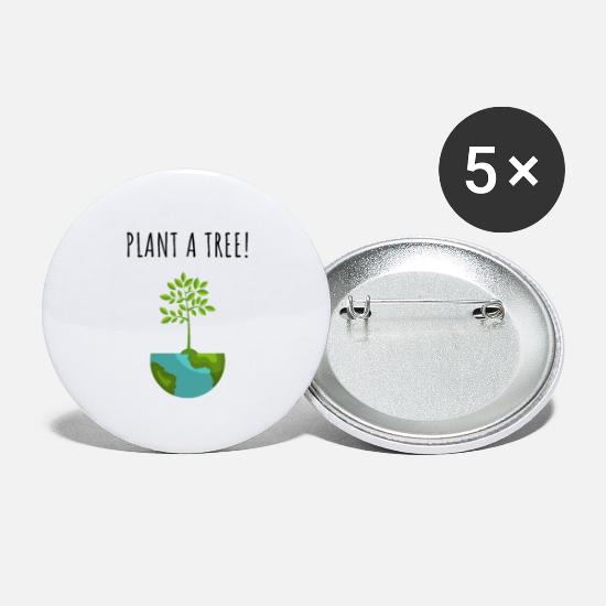 Gift Idea Buttons - Nature Conservation Tree Environment Planet Earth - Large Buttons white