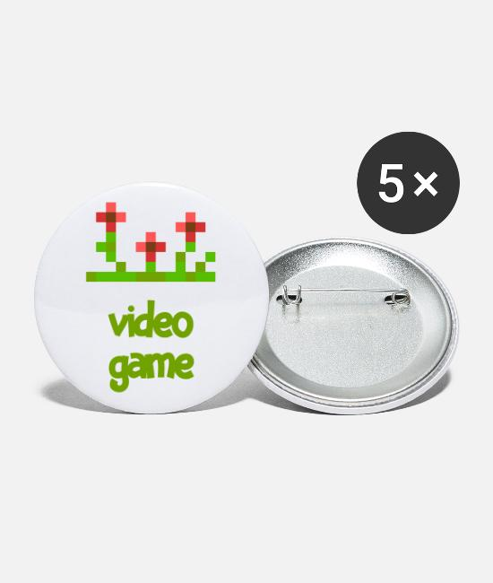 Play Buttons & Pins - VIDEO GAME F - Large Buttons white