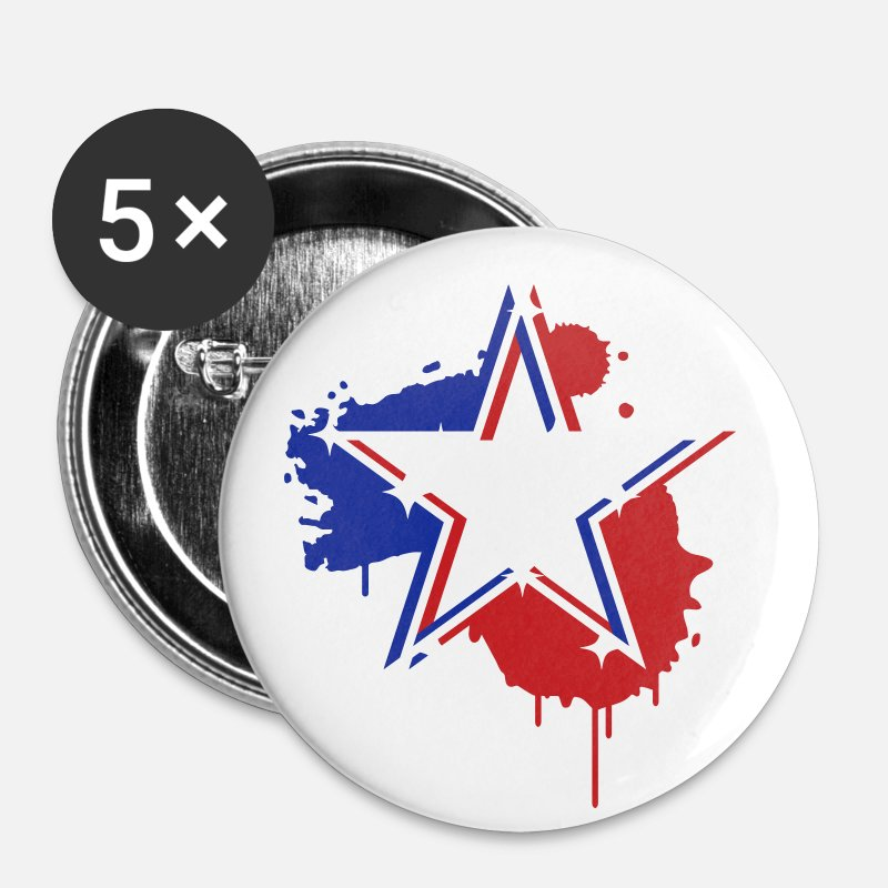 3d Buttons - 3D graffiti star design  - Large Buttons white