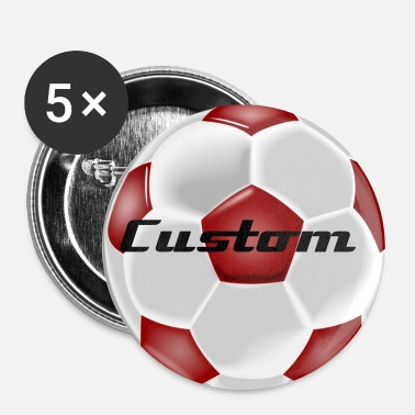 Soccer Ball Red and White Soccer Ball - Large Buttons