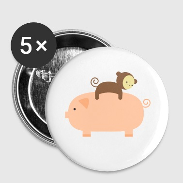 Baby Monkey Riding Backwards on a Pig - Large Buttons