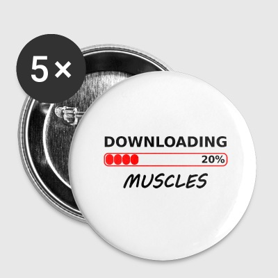 downloading muscles tshirt - Large Buttons