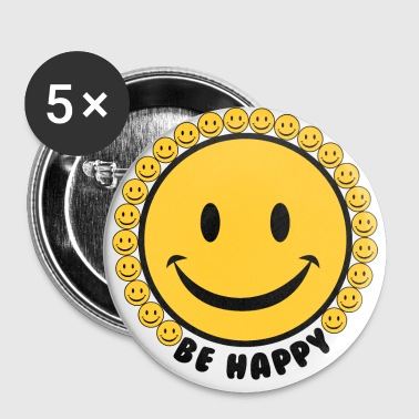 Be Happy Smiley Faces - Large Buttons