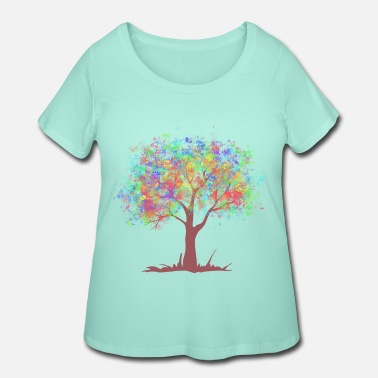 Eco the tree with rainbow color leaves - Women's Plus Size T-Shirt