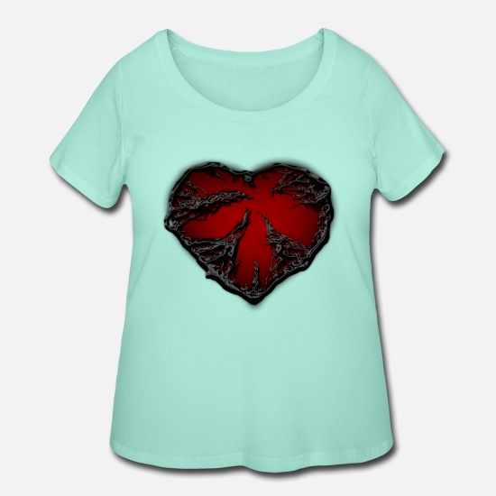 Sad T-Shirts - dark heart - Women's Plus Size T-Shirt mint