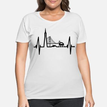 Gate San Francisco Heartbeat Skyline Heart Beat Gift US - Women's Plus Size T-Shirt