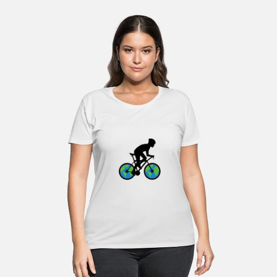 Attention T-Shirts - Bicycle Environmental Protection - Women's Plus Size T-Shirt white