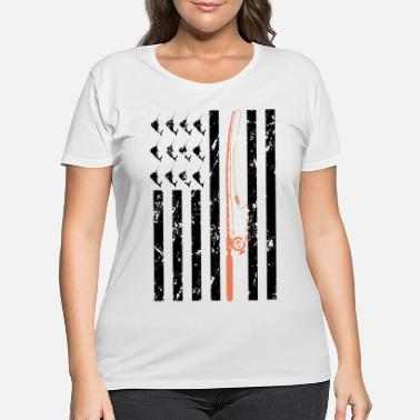 Fisherman Fishing Clothes American Flag - Women's Plus Size T-Shirt
