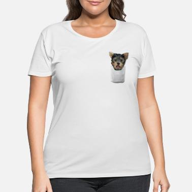 Cute Yorkshire in pocket tee - Women's Plus Size T-Shirt