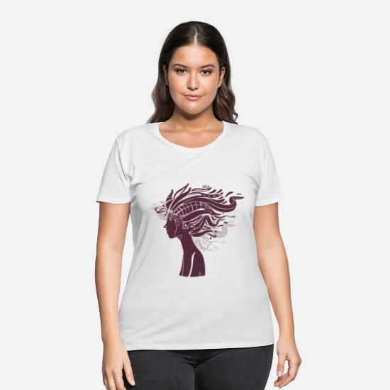 Art T-Shirts - Abstract Women With Artistic Hair - Women's Plus Size T-Shirt white