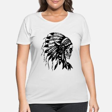 Skull Headdress Skull Native American Feathers Indian Tr - Women's Plus Size T-Shirt