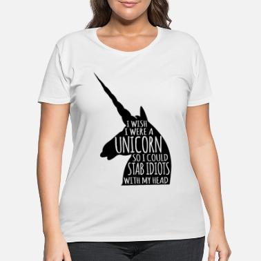 Unicorn Stab Idiots With Head Silhouette - Women's Plus Size T-Shirt