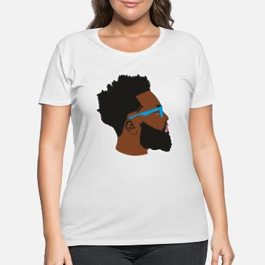 Afro Handsome Afro Man with Blue Glasses - Women's Plus Size T-Shirt