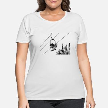 Ski Lift Snowboarder and a skier on the lift - Women's Plus Size T-Shirt