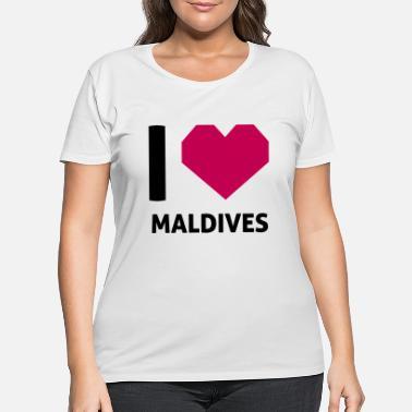 I Love Heart Maldives Ladies T-Shirt