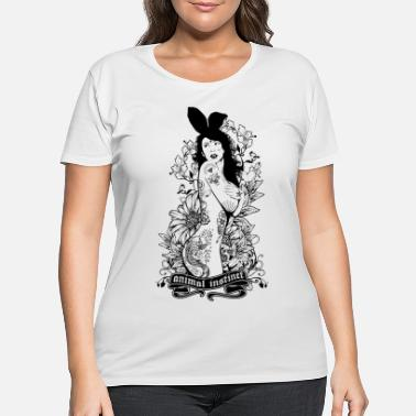 Seductress Tattooed Bunny Animal - Women's Plus Size T-Shirt