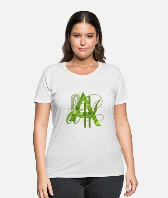 Alphabet T-Shirts - Mandala_A - Women's Plus Size T-Shirt white
