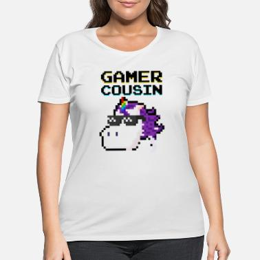 Pixelated Gaming Gamer Cousin Unicorn Pixel Gift Multiplayer - Women's Plus Size T-Shirt