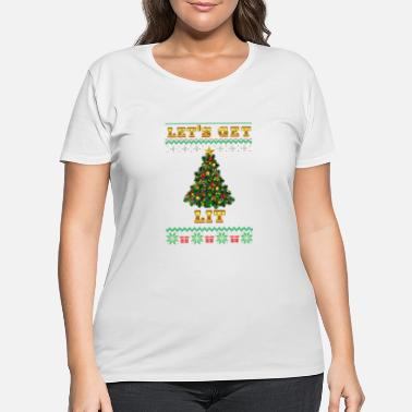Coffee Get Lit Ugly Christmas Sweater - Women's Plus Size T-Shirt