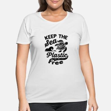 Clean Earth Keep The Sea Plastic Free Save The Turtles - Women's Plus Size T-Shirt