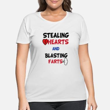 Funny Valentines Day Stealing Hearts And Blasting - Women's Plus Size T-Shirt