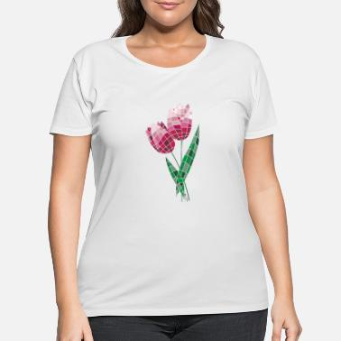 Tulip Stained Glass Tulips - Women's Plus Size T-Shirt
