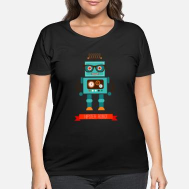 Hipster Hipster robot with glasses - Women's Plus Size T-Shirt