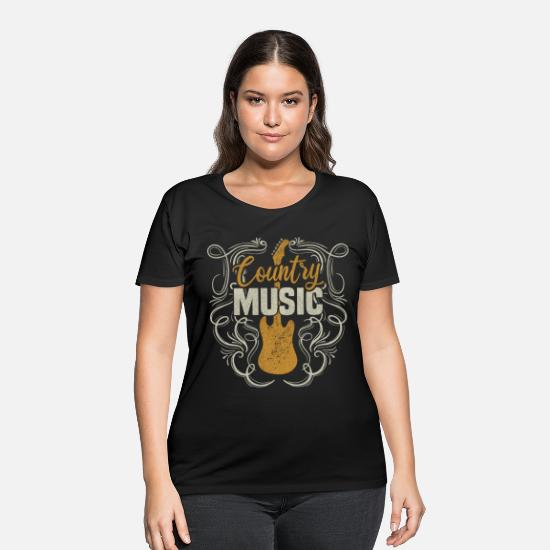 Country T-Shirts - Country Music Western Guitar Gift - Women's Plus Size T-Shirt black