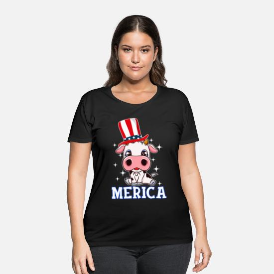 Heifer T-Shirts - Merica Cow Baby 4th July T-Shirt American Flag Cow - Women's Plus Size T-Shirt black