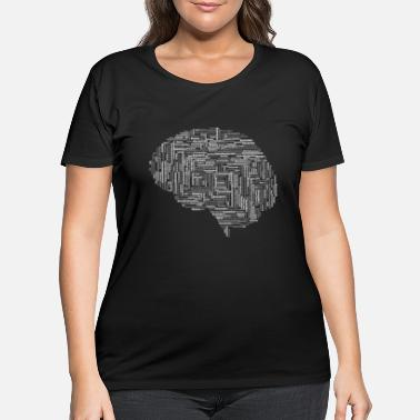 Word Alzheimers Brain Word Cloud Grayscale - Women's Plus Size T-Shirt