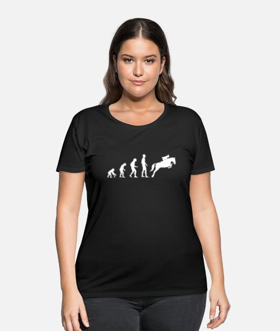 Horse T-Shirts - Evolution Show Jumping - Women's Plus Size T-Shirt black