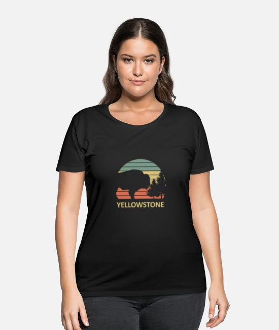 National Team T-Shirts - Vintage Yellowstone Bison Buffalo Us National Park - Women's Plus Size T-Shirt black