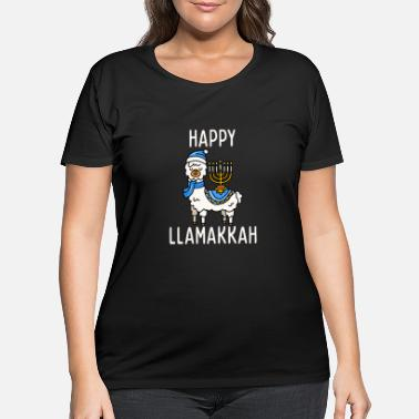 Chanukah Happy Llamakkah Hanukkah Llama Menorah Chanukah Al - Women's Plus Size T-Shirt