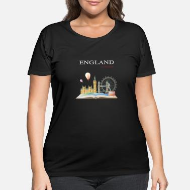 United Kingdom London England on the Book Design - Women's Plus Size T-Shirt