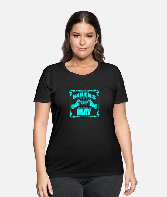 Motorcycle T-Shirts - biker_motorcycle_best_born_in_may_funny_shirt - Women's Plus Size T-Shirt black