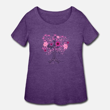 Breast Cancer Awareness Pin Ribbon Tree - Women's Plus Size T-Shirt