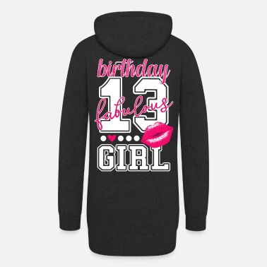 13th birthday girl pink kiss College Style number - Women's Hoodie Dress