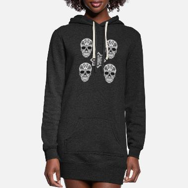 Skull Skull Skull - Women's Hoodie Dress