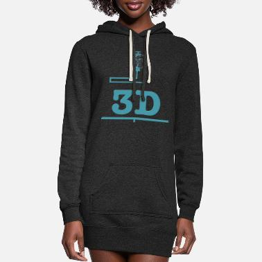3d 3D printer, 3D, 3D printer, 3D printing, 3D printi - Women's Hoodie Dress