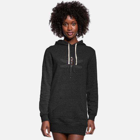 Dragonfly Hoodies & Sweatshirts - Robot Insect Dragonfly Hifi Speaker System Electro - Women's Hoodie Dress heather black