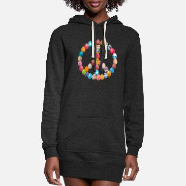 Tradition Easter Egg Hunt Peace Sign Happy Easter Eggs - Women's Hoodie Dress