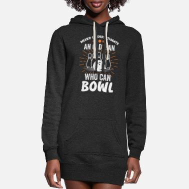 Strike Bowling Grandpa Bowler Father Gift - Women's Hoodie Dress